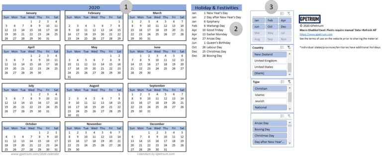 2020 yearly calendar with a few holidays and observances