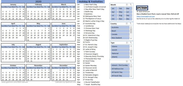 2020 yearly calendar with holidays and observances