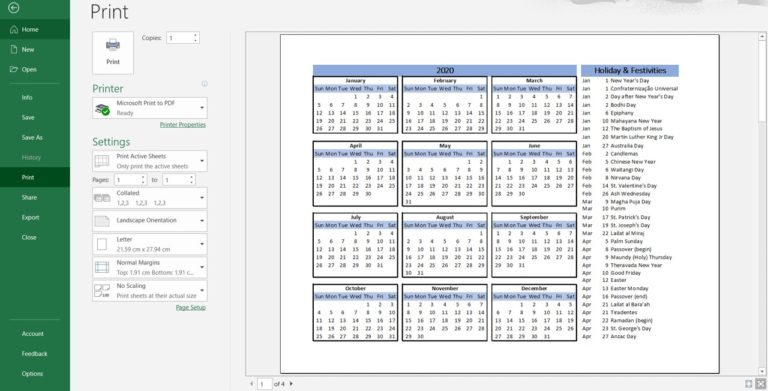 Printable view of 2020 yearly calendar