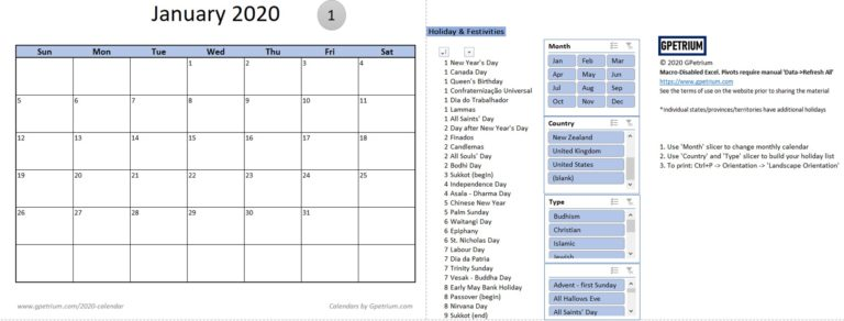 2020 monthly calendar with holidays and observances