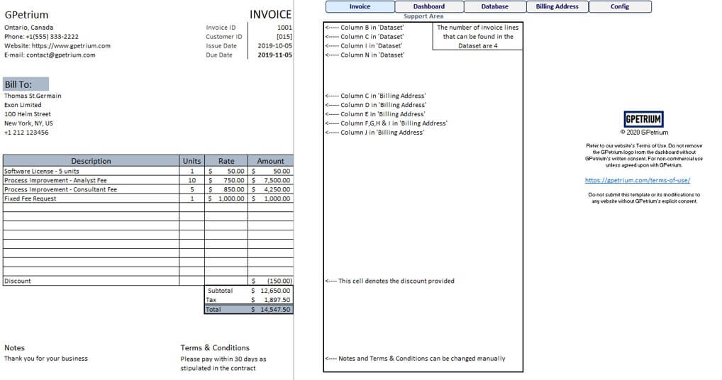 Invoice Page for pdf and print