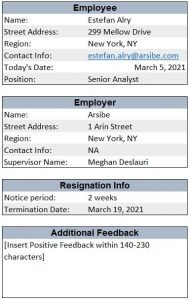 resignation letter in excel input boxes