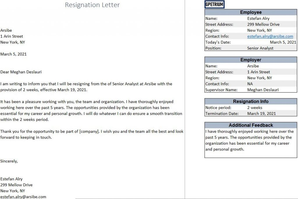 resignation letter in excel with sample