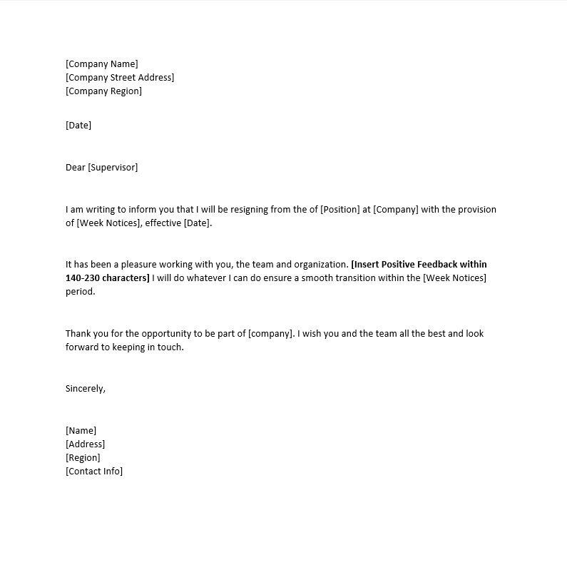 Resignation letter in word image